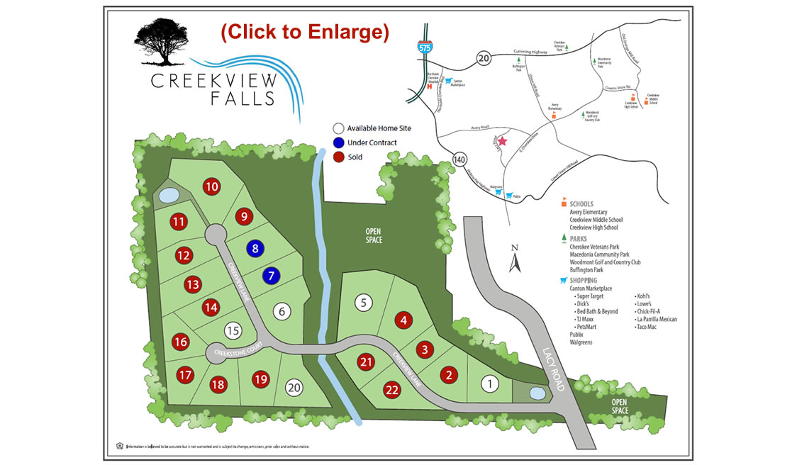 Creekview Falls Site Map